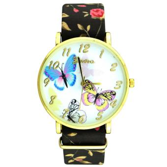 Geneva Women's Roses and Butterflies Floral Black Leather Strap Watch Price Philippines