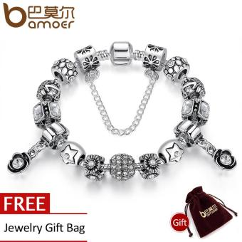 BAMOER New Authentic 925 Silver Pendants Retro Beads Flower Heart Rose Pendant Safety Beads Bracelets for Gift PA1469 Price Philippines