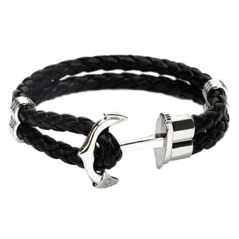 Fancyqube Men Double-Deck Boat Anchor Weave Chain Leather Bracelets Black Rope Silver Anchor Price Philippines