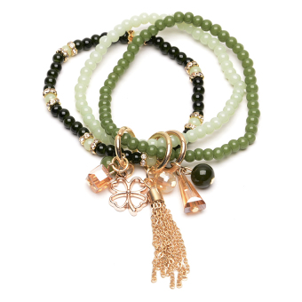 Athena & Co. Beaded Bora Bora Bracelet (Green/Gold) Price Philippines