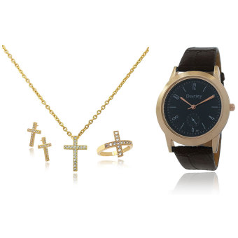Persian Princess Ayra Holy Cross Jewelry Set Necklace Ring Earrings WITH BUNDLE Destiny Watch (Gold) Price Philippines