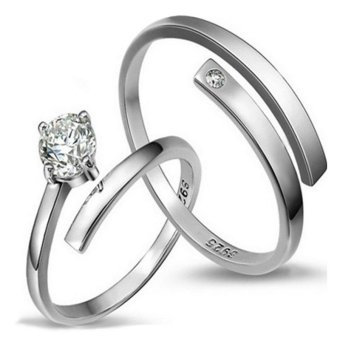 2 Adjustable New Ring Couple Ring Jewellry 925 Silver Lovers Ring E012 - intl Price Philippines