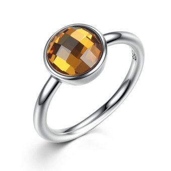 Harga Poetic Droplet Genuine 925 Sterling Silver Rings with Citrine Yellow Crystal Stone Promise Engagement Wedding Rings for Women (Intl)