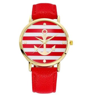 New Arrival Fashion Leather strap Anchor Watches Women Dress Watches red - intl Price Philippines