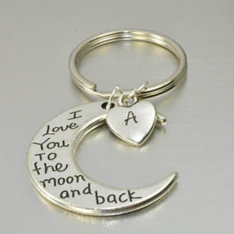 Harga Moon ,On Sale I Love You to the Moon and Back Key Chain Silver Metal Keychain 2PCS - intl