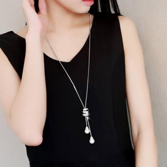 Kuhong Pearl Alloy Pendant Long Necklace - intl Price Philippines