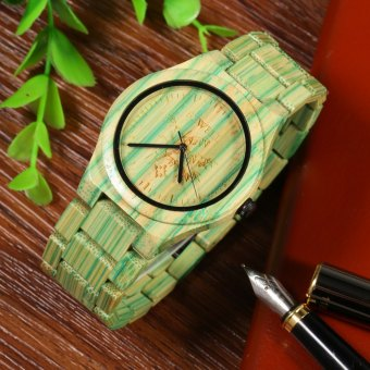 BEWELL Male Quartz Watch Colorful Bamboo Made (GREEN) - Intl Price Philippines