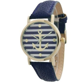 Women's Geneva Striped Anchor Style Leather Watch Navy Blue - intl Price Philippines