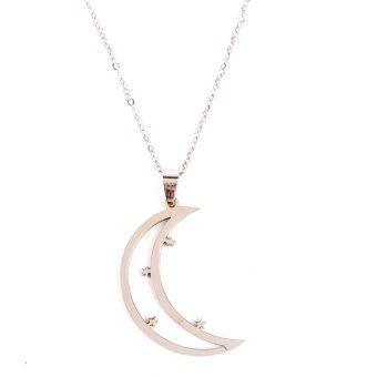 Harga Steel Big Crescent Moon Long Necklace
