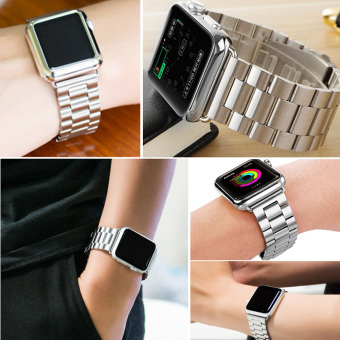 Moonar Stainless Steel Bracelet Link Watch Band Strap with Connector for Apple Watch iWatch (Silver-38mm) - intl Price Philippines