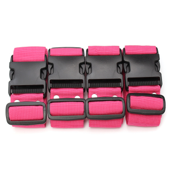 Harga 4Pcs Adjustable Travel Luggage Baggage Suitcase Bag Packing Strap Secure Belt Pink - intl