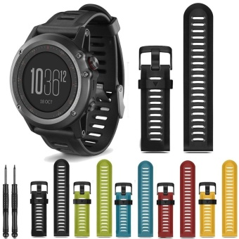 26mm Width Outdoor Sport Silicone Strap Watchband for Garmin Band, Silicone Band for Garmin Fenix 3 GMFNX3SB - intl Price Philippines