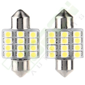 Harga 2Pcs 31mm 3528 12 SMD Bulb LED Interior Light For Car Door Dome Map Lamp (White)