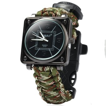 Harga Outdoor Watch with Compass Whistle Fire Starter Watchband (Camouflage Green)