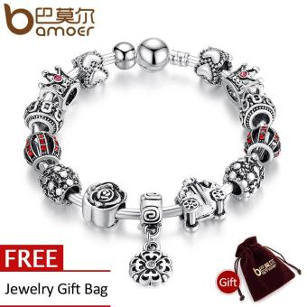 BAMOER New 925 Silver Pendants Bracelet & Bangle with Lantern Crown Rose Car Flower Beads & Charms Christmas Bracelet PA3071 Price Philippines