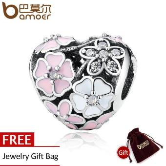 Harga 925 Silver Jewelry Poetic Blooms, Mixed Enamels & Clear CZ Heart Charms Fit Bracelet Accessories for Women Sterling Silver Jewelry PAS283