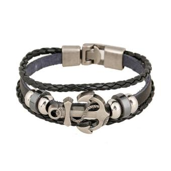 Vintage Men's Metal Anchor Steel Studded Surfer Leather Bracelet (Multicolor) Price Philippines