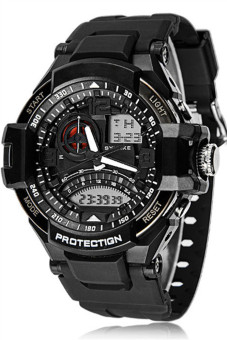 Harga OEM Men's Black Rubber Strap Watch