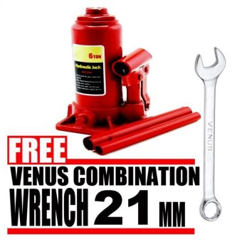 Harga Prostar 6 Ton Hydraulic Jack - Bottle Type ( Red ) item No.: BJ0601 with Free Venus Combination Wrench 21 mm