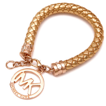 Harga Hequ MK Pendant Leather Rope Bracelet (Golden)