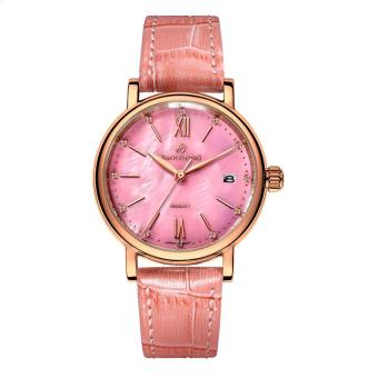 Harga ruixiang Polaroid long watch Girls simple fashion genuine waterproof quartz sapphire steel strap watch (Pink)