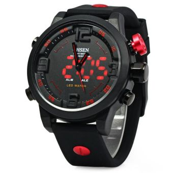 Harga OHSEN AD2820 Men Silicone Sports Quartz Watch Big Dial Double Movement RED (Intl)