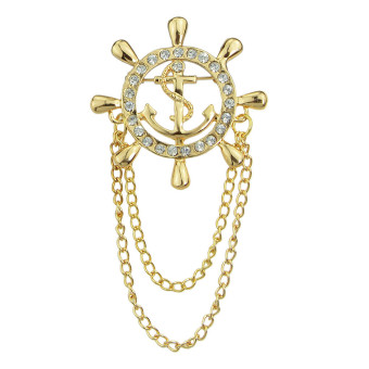Kayshine Fashion Gold Plated Rhinestone Anchor Shape Brooches (Intl) - intl Price Philippines