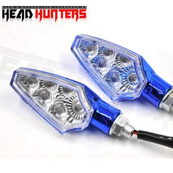 Harga Head Hunters Motorcycle Turn Indicator / Signal Light Amber Blinker (Blue)