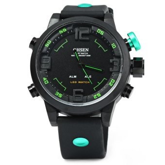 Harga OHSEN AD2820 Men Silicone Sports Quartz Watch Big Dial Double Movement GREEN (Intl)