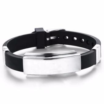 New 2017 Hong Kong Plated Titanium Stainless Steel Jewerly Silicone Bracelet Unisex (Silver/Black) Price Philippines