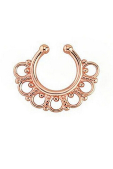 Harga Buytra Non-Piercing Nose Ring Fake Gem Septum Ring Rose Gold