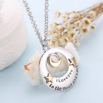Harga Trendy Alloy I Love You To The Moon and Back Moon and Star Pendant Necklace Silver