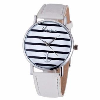 Geneva Anchor Stripes Leather Watch - White Price Philippines
