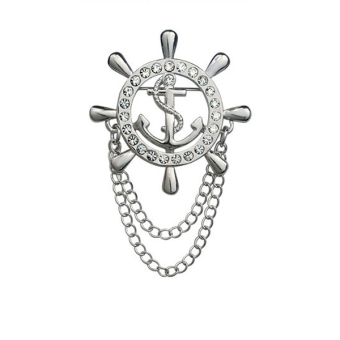 Harga BolehDeals Silver Tone Crystal Rudder Helm with Chain Brooch Lapel Pin Coat Suit