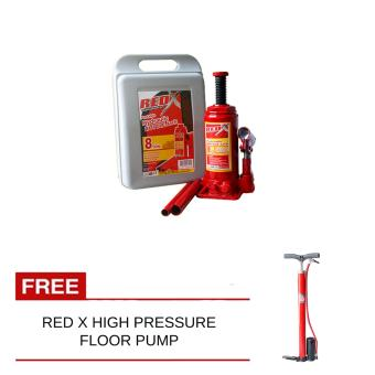 Harga Red X Bottle Jack 8Ton With Free High Pressure Floor Pump