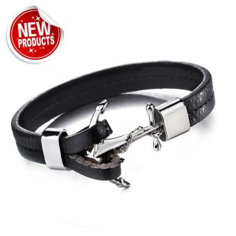 Genuine Black Leather Stainless Steel Anchor Bracelet Price Philippines