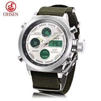 Harga OHSEN AD1601 Male Dual Movt Quartz Digital Watch Chronograph Date Day Alarm 3ATM Wristwatch (White) - intl