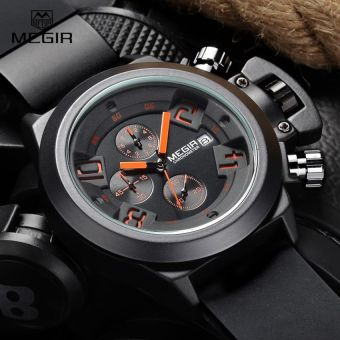 Harga MEGIR new brand silicone band analog Chronograph stop watch military army styligh mens watches top brand luxury men male clock(black)
