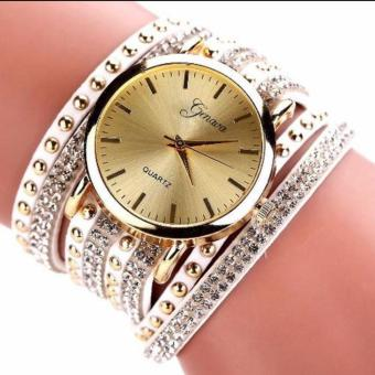 New 2017 Hong Kong Geneva Luxury Studded High Fashion Popular Watch Winding Wrist Women's Watch (white) Price Philippines