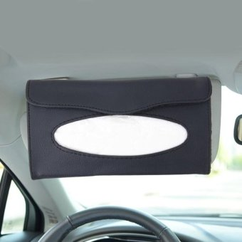 Elegant PU Leather Car Sun Visor Tissue Paper Holder Dispenser Box(Black) - intl Price Philippines