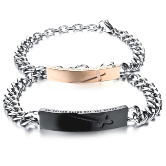 Harga Zuncle Couple Cross Carved Black Titanium Steel Rose Gold Plated Bracelet Valentine's Day Gift(Rose Gold+Silver)