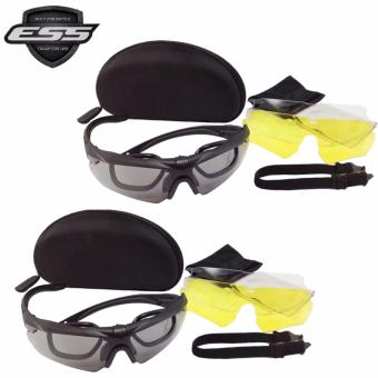 Harga 2 Pcs ESS Eyewear Cross Series Crossbow 3LS (3 Lens System) Kit with Interchangeable Lenses and Hard Case