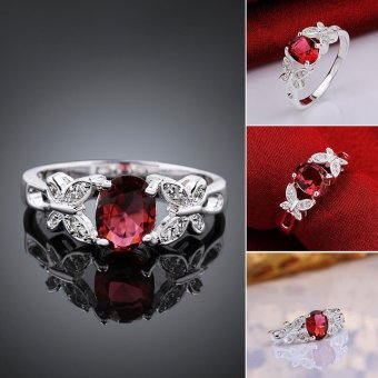 925 Silver Plated Ring Butterfly Crystal Jewellery Ring-Red Price Philippines
