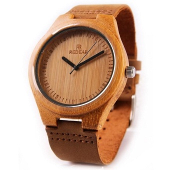 Harga Bamboo pure wood watches for men and women bamboo Watch Leather Watch - intl
