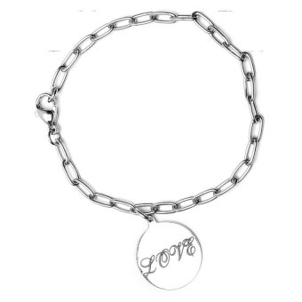 Harga Silverworks X1067 Cheval with Love Black Deep Engraved Bracelet (Silver)