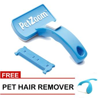 Harga Pet Zoom Self Cleaning Grooming Pet Brush (Blue) with Free Pet Hair Remover