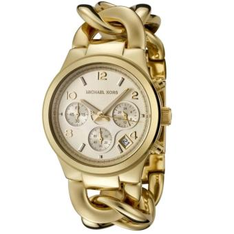 Harga Michael Kors Runway Twisted Chronograph Gold Women's Midsize Watch-MK3131
