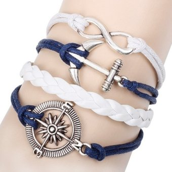 Harga Fashion Alloy Anchor Rudder Leather Friendship Love Couple Charm Bracelet (Intl)