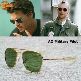 Harga Hawaii New Fashion Army MILITARY Pilot 54mm Sunglasses Brand American Optical Glass Lens Sun Glasses