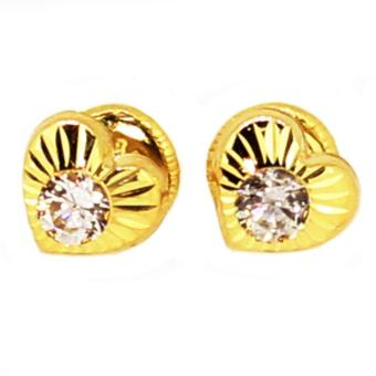 Harga Karat World, Heart design stud earrings crafted in 14kt. Solid yellow gold.